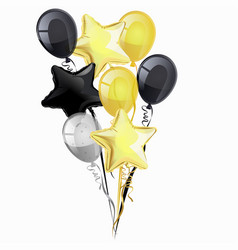 bunch black golden silver helium balloons vector image