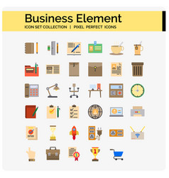 business element icons flat vector image