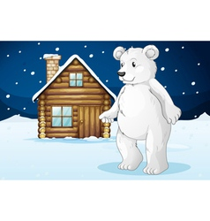 Cabin and polar bear vector
