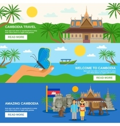 Cambodian Culture 3 Horizontal Banners Set vector image