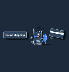 casual man using mobile application online market vector image