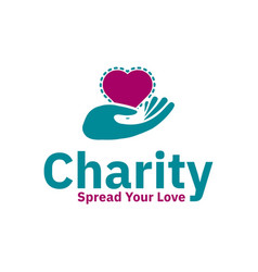 charity logo design inspiration love shape and vector image