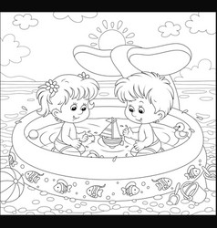 Children playing in a kids pool on a beach vector