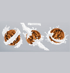 chocolate cookies and milk splash 3d realistic vector image