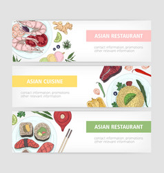 collection web banner templates with tasty vector image