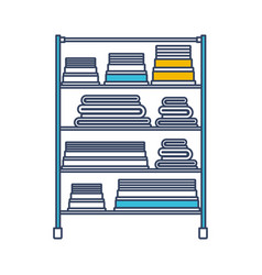 Color blue and yellow sections silhouette of rack vector
