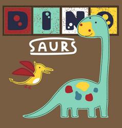 Colorful dinosaurs cartoon brontosaurus vector