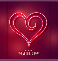 creative neon heart shape background vector image