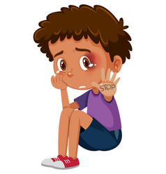 crying boy with bruises saying stop on white vector image