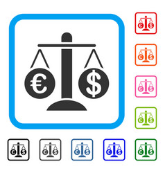 currency compare scales framed icon vector image