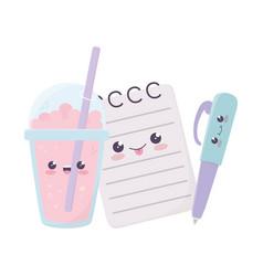 Cute notepad pen and milkshake kawaii cartoon vector