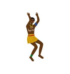 Dancing african man male aboriginal dressed in vector
