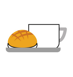 Delicious coffee with bread vector
