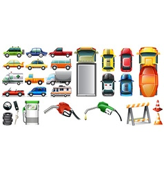 Different kind of automotives and petrol vector image