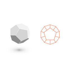 dodecahedron is a geometric figure hipster vector image
