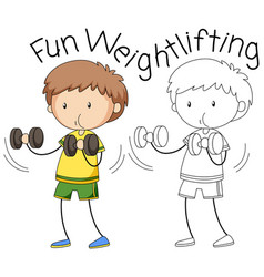 Doodle boy weightlifting character vector