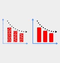 Dot and flat recession bar chart icon vector
