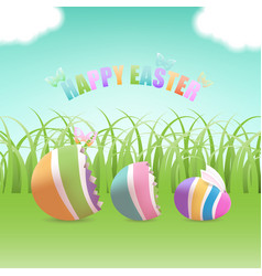 easter egg inside eggs in grass field vector image