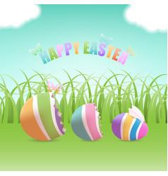 easter egg inside eggs in grass field vector image