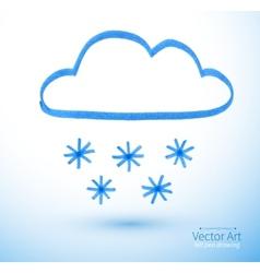 Felt pen drawing snowy cloud vector