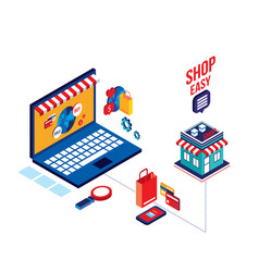 flat 3d isometric modern design shopping online vector image