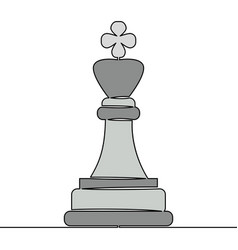 flat continuous line chess king strategy concept vector image