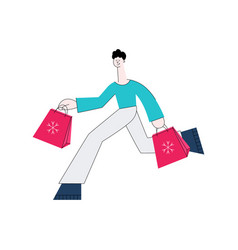 flat man with shopping bags vector image