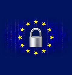 Gdpr background padlock blue matrix vector