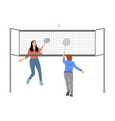 Girl and boy playing badminton vector