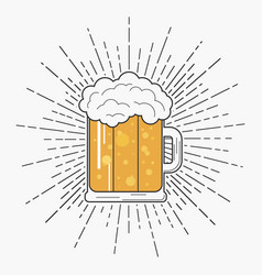 Glass of beer with foam and sunburst in hipster vector