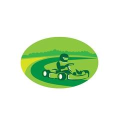 Go Kart Racing Oval Retro vector