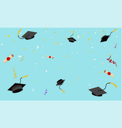 graduation hats fly in sky poster caps vector image