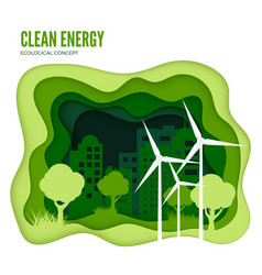 green energy ecological concept green paper cut vector image