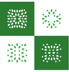 green plant abstract logo symbol icons set vector image