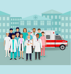 Group doctors and nurses and ambulance car on vector
