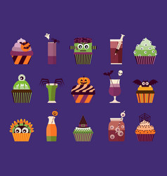 halloween cupcakes and cocktails vector image