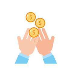 hand human with coin money vector image