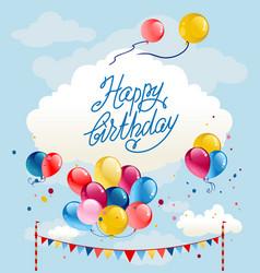 happy birthday balloons card vector image