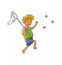 happy boy catching butterflies with butterfly net vector image