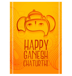 happy ganesh chaturthi festival greeting design vector image