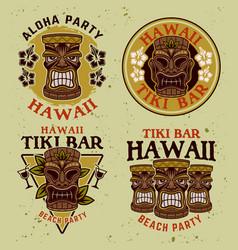 hawaiian tiki wooden head set four vector image