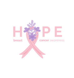 hope inscription breast cancer awareness month vector image