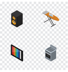 Isometric appliance set of stove television vector