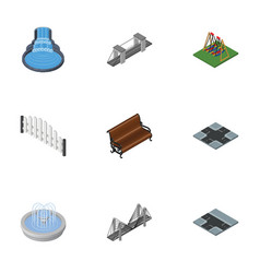 isometric city set of park decoration highway vector image