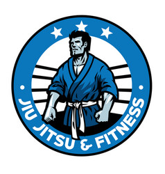 jiujitsu badge design vector image