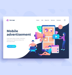 Landing page template mobile advertisement concept vector