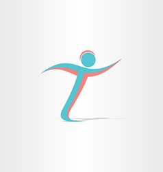 letter t man running sportsman icon vector image