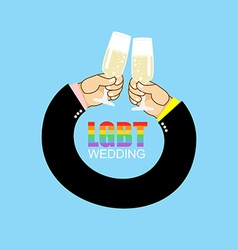 LGBT wedding Gay wedding Mens hands to drink vector
