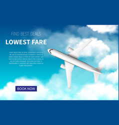 Lowest fare poster cheap flight promotion vector