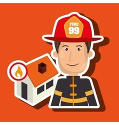 man firefighter house fire vector image